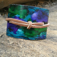 Metal Cuff Bracelet, Wide Cuff Metalwork, Leather Cuff, Blue and Purple Inked, Adjustable Metal Bracelet, Thick Arm Band