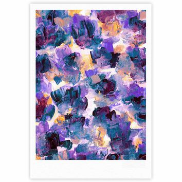 """Ebi Emporium """"Floral Spray 2"""" Green Teal Floral Abstract Painting Mixed Media Fine Art Gallery Print"""