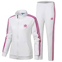 ADIDAS Clover women's spring and autumn running breathable jacket feet trousers sportswear two-piece White