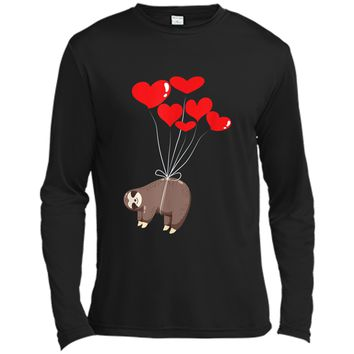 Sloth Napping  Cute Heart Lazy Valentines Day Gift Long Sleeve Moisture Absorbing Shirt