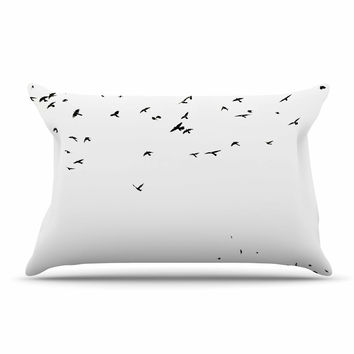 "Sylvia Coomes ""The Birds"" Black White Pillow Case"