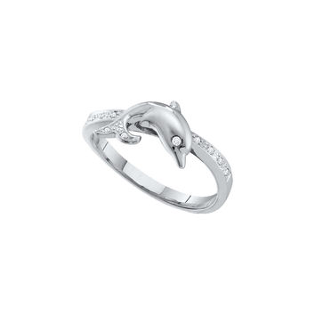 10kt White Gold Womens Round Diamond Slender Dolphin Fish Animal Ring 1/20 Cttw 55836