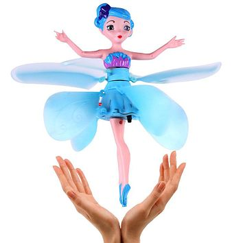 Blue Fairy Doll Induction Fly Toys Remote Control RC Helicopter Flying Quadcopter Drone Kids Toy Fairy Doll Best Gifts Mjd 9838