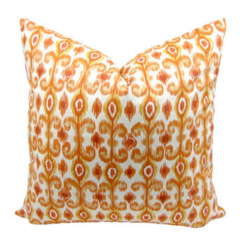 Ikat Pillow Cover, Orange, Toss Pillow, Throw Pillow, Decorator Pillow, Home Decor, Cotton Pillow Cover, Hidden Zipper, 18 x 18 inches