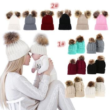 Mother and Daughter Matching Fur Pom Beenie