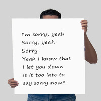 Justin Bieber quote, song lyric art, Purpose album Is it too late now to say sorry lyrics dorm decor song quotes Justin Bieber Original Font