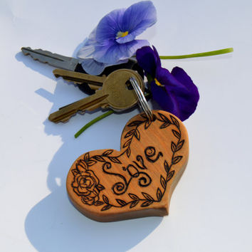 "Unique Wooden Heart Keychain - 3"" Wood Chunky Heart - Personalized & Customizable FREE SHIPPING!!"