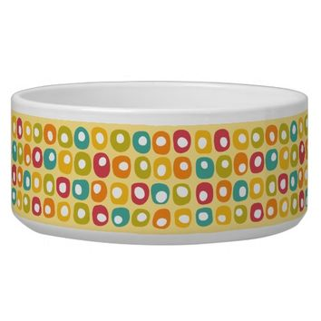 Bright retro square dots pattern red teal yellow bowl
