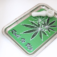 Nickel Plated Rolling Tray, Custom Graphic - Tobacco Marijuana Cannabis Pot Weed Ganja Bud Blunt Joint Cigarette Roll It Up Pot Leaf Trio
