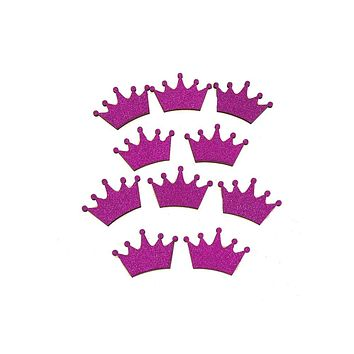 Royal Crown Glitter  Wood Favors, 1-1/2-Inch, Fuchsia, 10-Piece