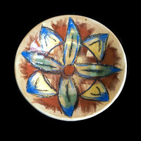 Dish -Small ceramic pottery plate- Decorative unique ceramic handmade dish with hand painted flower. Colorful dish.