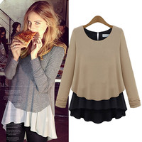 Long Sleeve Chiffon Layered Knit Sweater