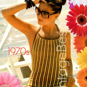 Swimsuit KNITTING Pattern 1970s Striped Swimsuit Knitting Pattern Bathing Suit Knitting Maillot Vintage Beso Instant Download PDF Pattern