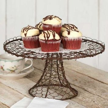 CTW Round Twisted Wire Metal Serving Stand for Appetizers Dessert Cupcakes Cake Stand Rustic Farmhouse for Weddings Tea Parties Holiday Dinners or Birthday Parties Black/Brown/Rust