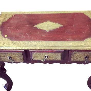 Antique Vintage Coffee Table with Brass Accent Carving Moroccan Vintage Furniture