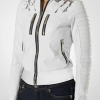 White Zipper Rib-knit Cuffs Jacket
