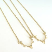 Sale / Gold Deer Antler Necklace / Layering Necklace