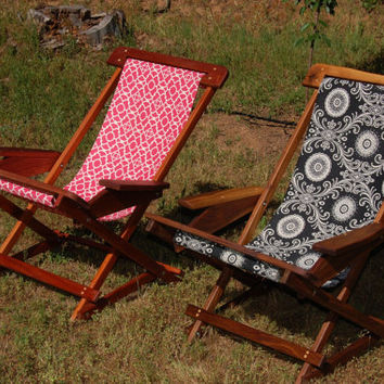 The Sierra Sling Hand Made Solid Wood Folding Gentle Rocking Patio Or Beach  Lounge Chair
