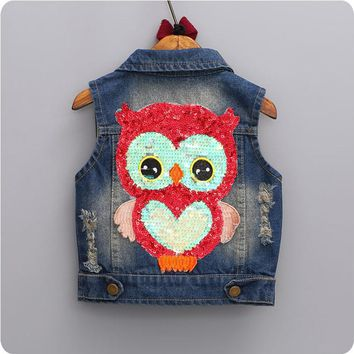 Children Clothing 2017 Baby clothes for Girls Vest Sleeveless Denim Jackets kids Lapel Cowboy Waistcoats Cartoon Owl Outwear