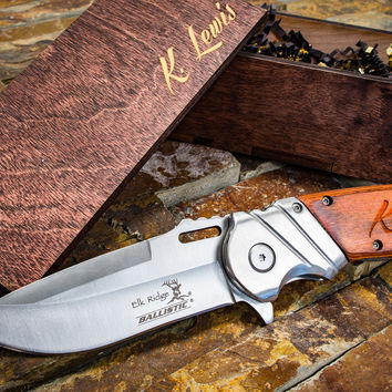 Engraved Knife, Personalized Knife w/ Custom Text - Hunting Knife - Great Gift For Dad