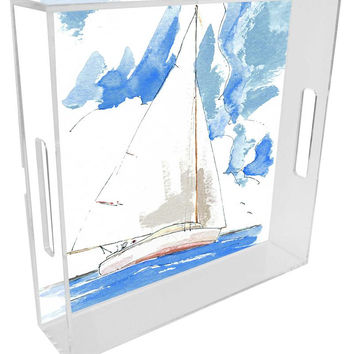 Sailboat Lucite Tray by Bill Kelley
