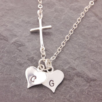 Cross and Heart Necklace, initial heart, sideways cross, religious necklace, love necklace, valentines jewelry, couples jewelry, N14