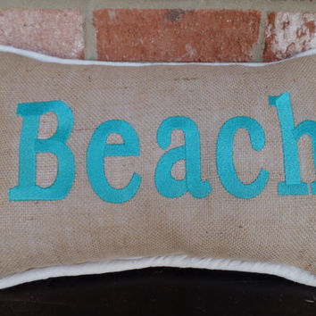 Beach Embroidered pillow with osnaburg piping,  14 X 18  pillow, Mothers day, decorative pillow, beach pillow.
