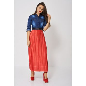 Denim Top Maxi Dress With Red Pleated Skirt Ex-Branded