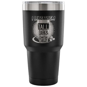 Insulated Coffee Travel Mug Tall Dark Caffeinated 30 oz Stainless Steel Tumbler