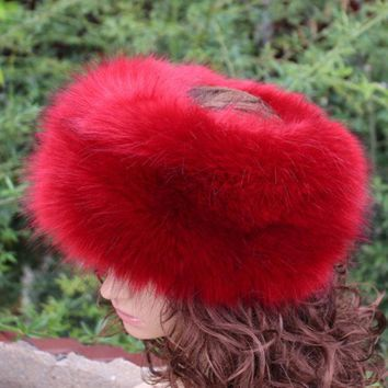 ESBU3C new fashion faux fur huff multicolor sleek warm soft top quality fake fur hat winter women fluffy head decoration fashion