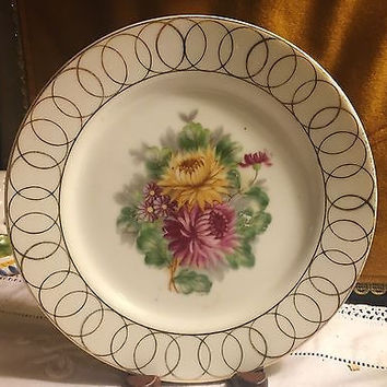 c1945 Rare Made in Occupied Japan Hand  Painted Chrysanthemum Plate w/ Gold Rim