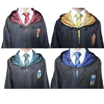 Cool Harri Potter Robe Gryffindor/SlytherinRavenclaw/Hufflepuff Cosplay Costumes Kids Adult Cape cloak 11 SIZE Halloween GiftAT_93_12