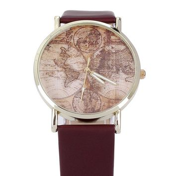 Hot Sale,World Map Women Watches Top Brand Luxury PU Leather Casual Quartz Watch Discount Watches Women Clock Montre Femme