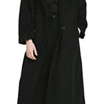 Women's Vintage Black Double Breasted Lapel Long Sleeve Full-Length Wool Coat
