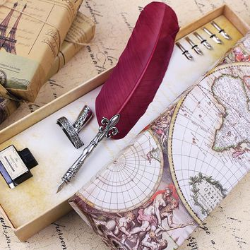 Free Shipping Valentine Gift Quill Feather Dip Pen Set In Global Map Gift Box Fountain Pen