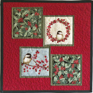 Wall Hanging or Table Topper, Pieced and Quilted Centerpiece, Table Mat, Chickadees and Holly