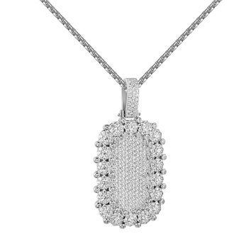 Iced Out Dog Tag Pendant Cluster Set Simulated Diamonds Steel Box Chain Hip Hop