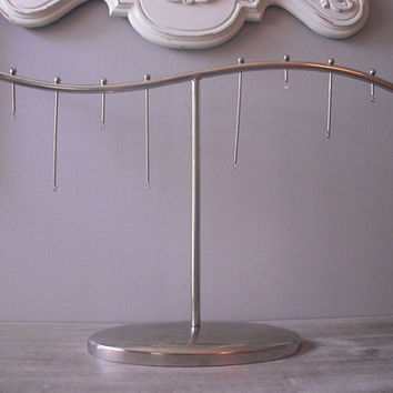 Vintage Modern Silverplate or chrome ... Jewelry Display Rack ... ornament stand ... Jewelry rack Deco Retro Mod
