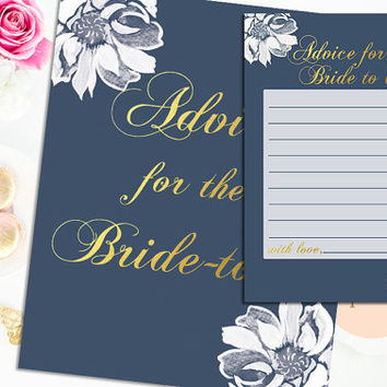 Advice for Bride to Be Bridal Shower Card Gold White Flower Elegant Bridal Shower with Sign Printable Digital Instant Download