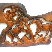 """Wood Carving Two Horse Rustic Driftwood Reclaimed Hand Carved Teak Wood Natural Wild Horse Wall Hanging Art Home Decor / Gift 29.5"""" x 13.5"""""""