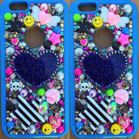 Phone Case -- iPhone 6 -- Glitter Glam Kawaii Case in Blue