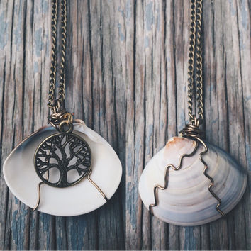 Bohemian Wire Wrapped Shell Pendant Necklaces - Unique Beach Hippie Boho Ocean Jewelry