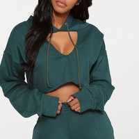 Shape Emerald Green Crop Open Neck Hoodie