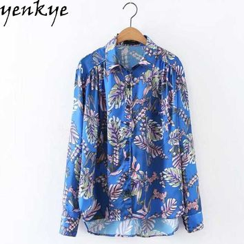 Women Printed Satin Chiffon Blouse Turn-down Long Sleeve  Loose Ladies Office Shirts