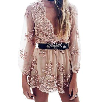 Deep V Sequins Playsuit Women Tassel Short Mesh Bodysuit Beach Club Jumpsuit Rompers Embroidery Leotard