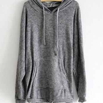 Gray Hooded Batwing Long Sleeves Blended Hoodie
