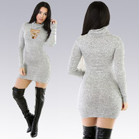 Grey Cut-Out Bodycon Mini Dress