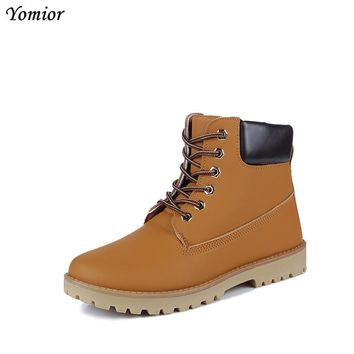 Yomior Round Toe Men Boots Brand Men Shoes Spring Fashion Vintage Style Motorcycle Boots Oxfords Casual Trend Ankle Boots