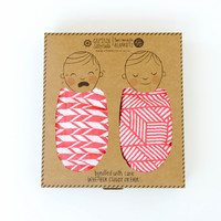 Organic Cotton Swaddle Blanket -Coral Pink Geometric Print