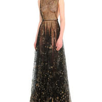 Valentino Cosmos-Embroidered Tulle Gown
